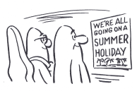 cartoon showing musicians contemplating a holiday