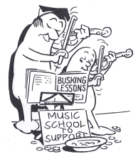 cartoon showing busking violin players - one is a music teacher