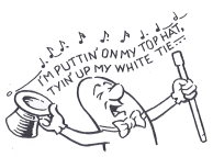 cartoon depicting a character singing loudly