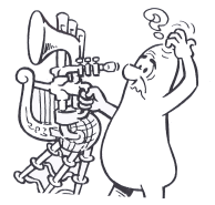 cartoon of a character with a bizarre instrument