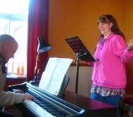 a music student learning to sing